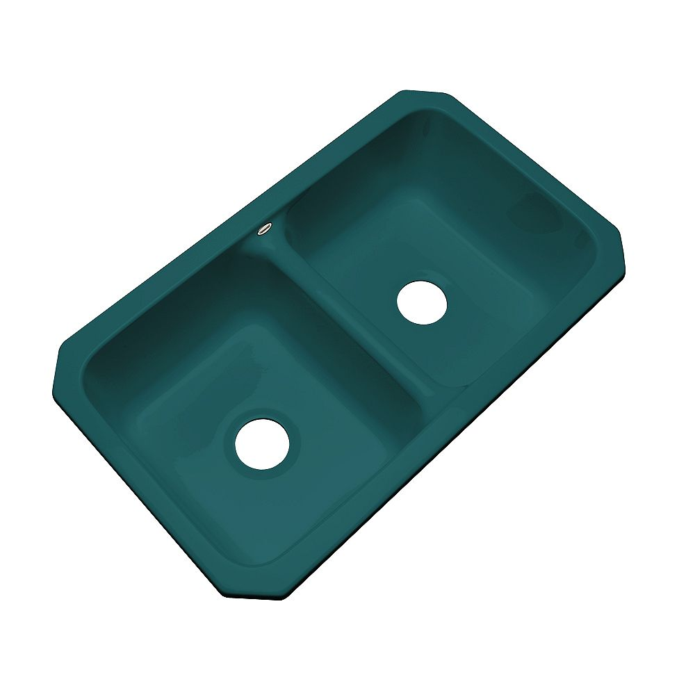 Thermocast Newport Undermount Double Bowl Teal Kitchen Sink