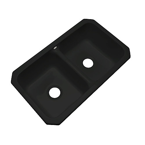 Newport Undermount Double Bowl Black Kitchen Sink