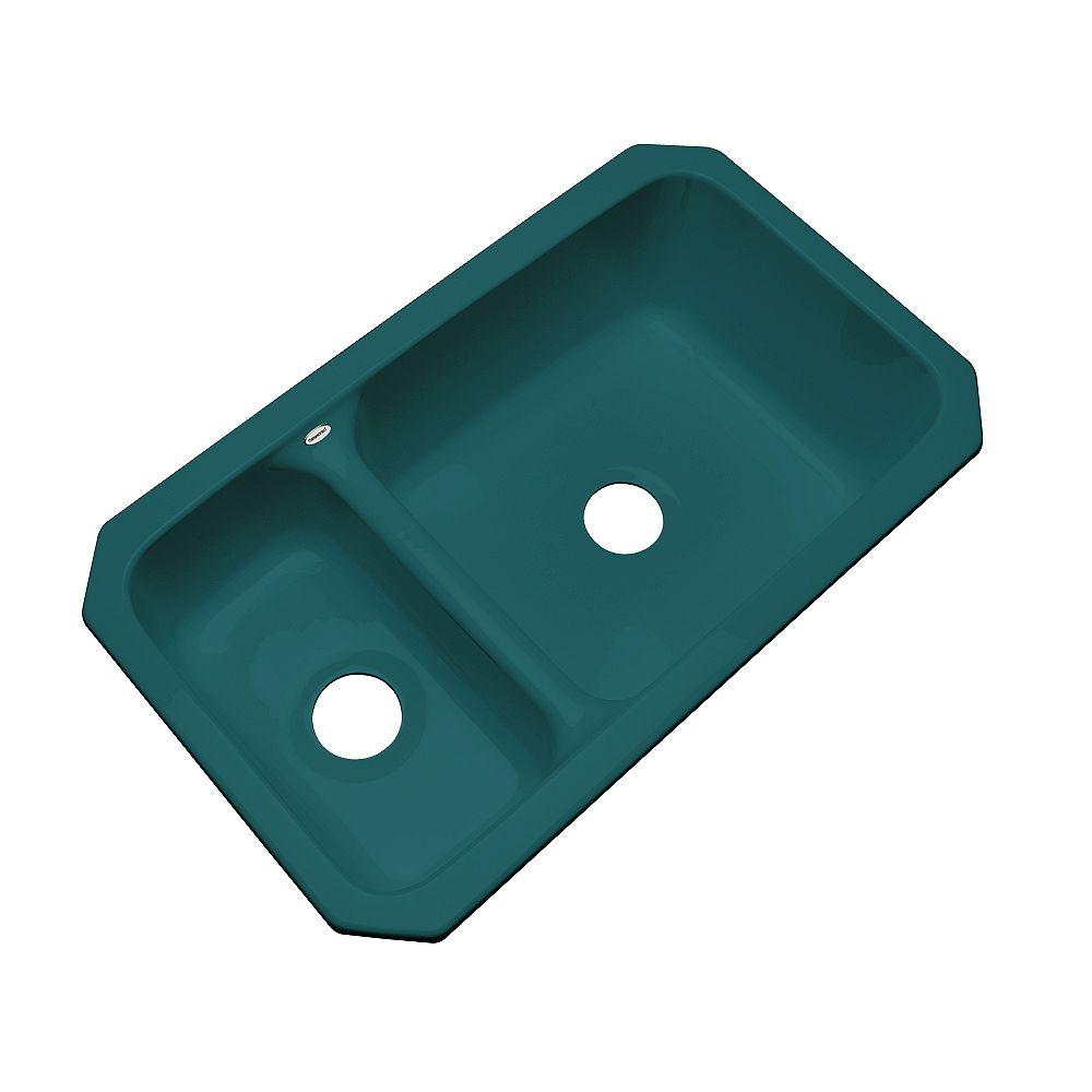 Thermocast Wyndham – Évier double 30/70 en acrylique sarcelle de 33po de largeur