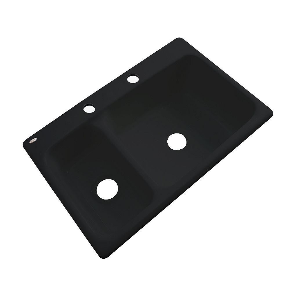 Thermocast Wyndham – Évier double 30/70 en acrylique noir de 33po de largeur