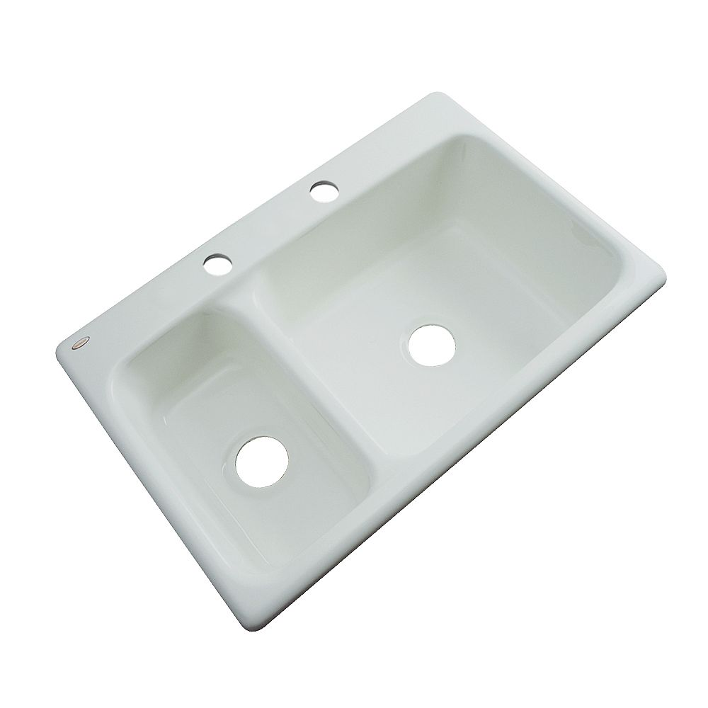 Thermocast Wyndham 33 Inch Double Bowl Ice Gray Kitchen Sink