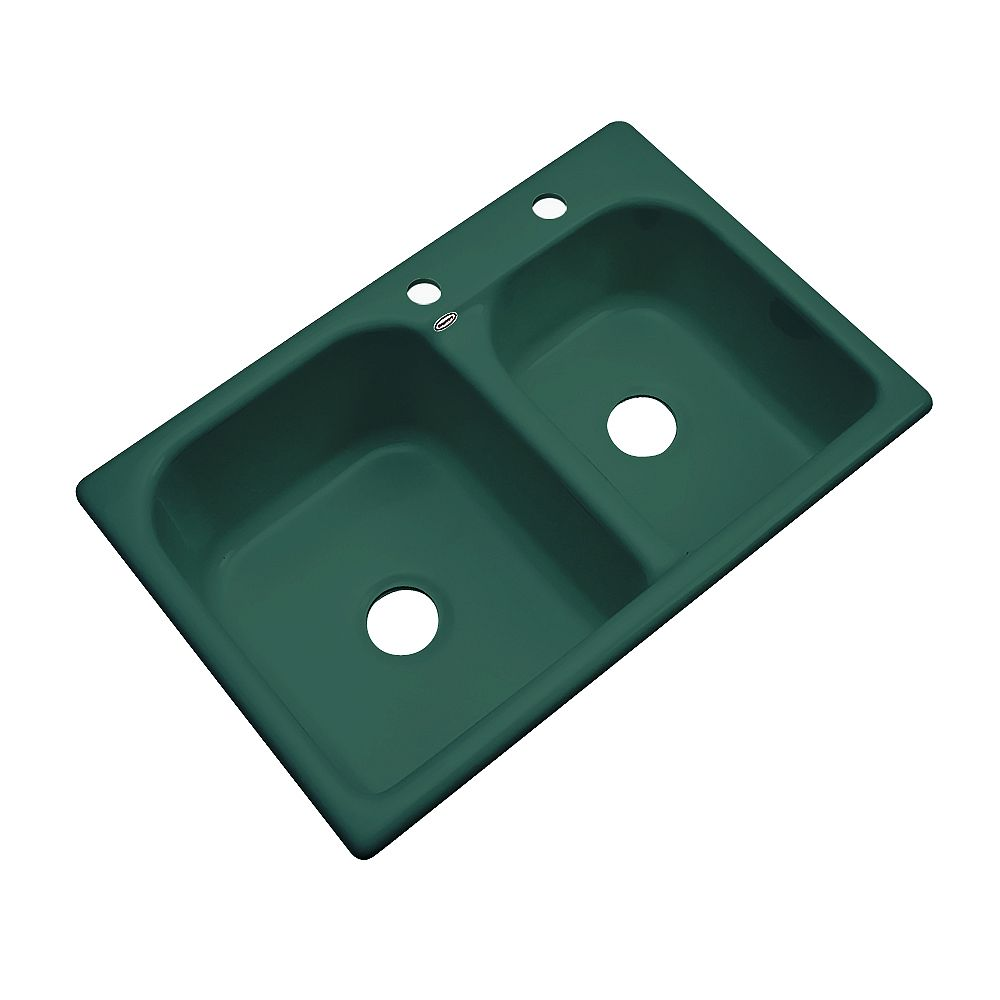 Thermocast Cambridge 33 Inch Double Bowl Rain Forest Kitchen Sink
