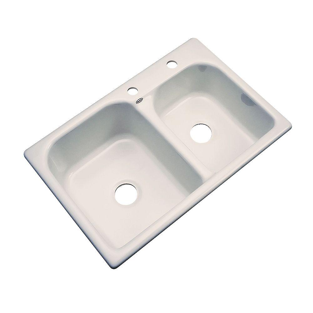 Thermocast Cambridge – Évier double 60/40 en acrylique sable de 33po de largeur