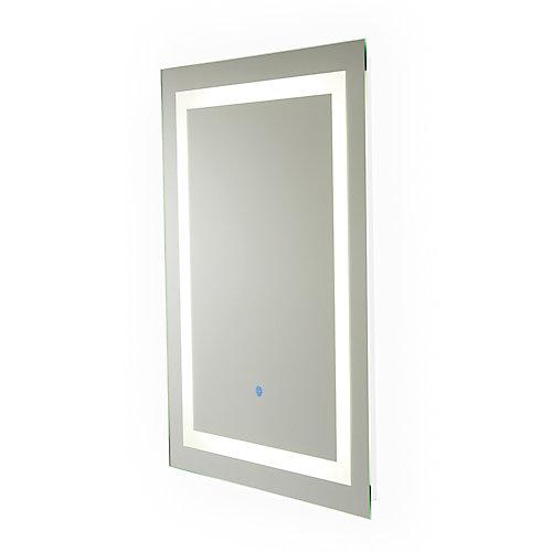 Miroir Portofino câblé avec rétroéclairage à DEL pour salle de bains ou meuble-lavabo (24pox32po)