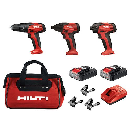 12-Volt Lithium-Ion Cordless Rotary Impact Driver/Hammer Drill and Screwdriver Combo (3-Tool)