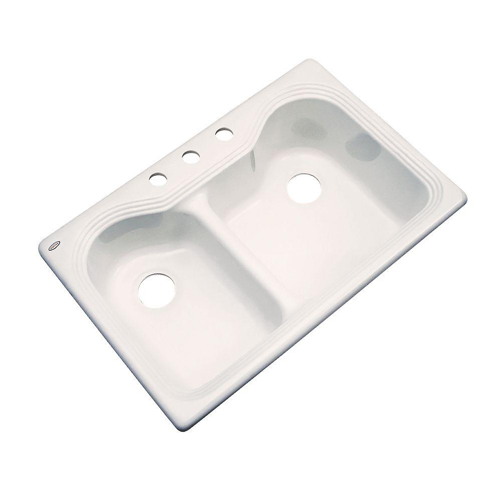 Thermocast Breckenridge  Évier double 60/40 en acrylique crème de 33 po de largeur