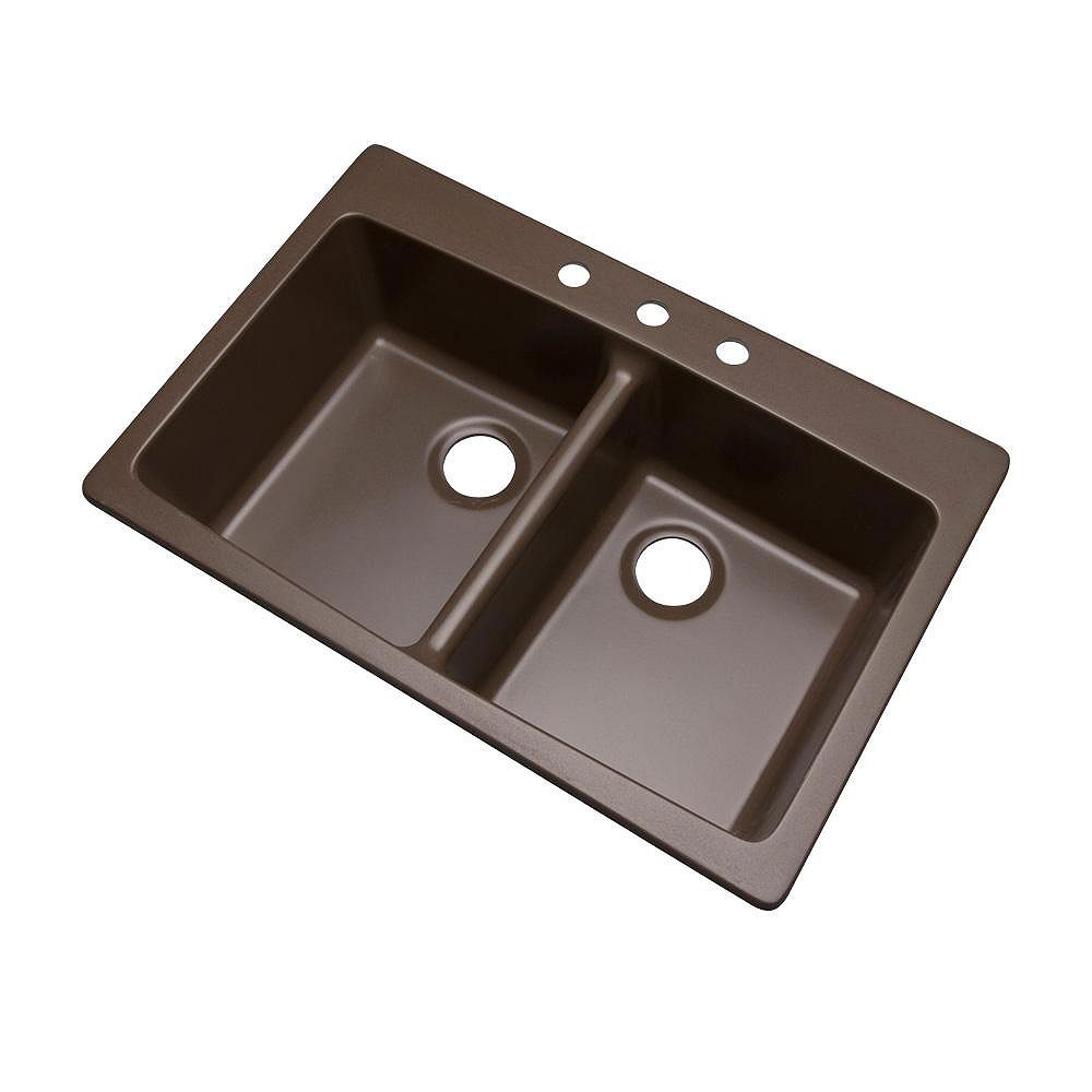 Mont Blanc Waterbrook 33 inch Double Bowl Mocha Kitchen Sink