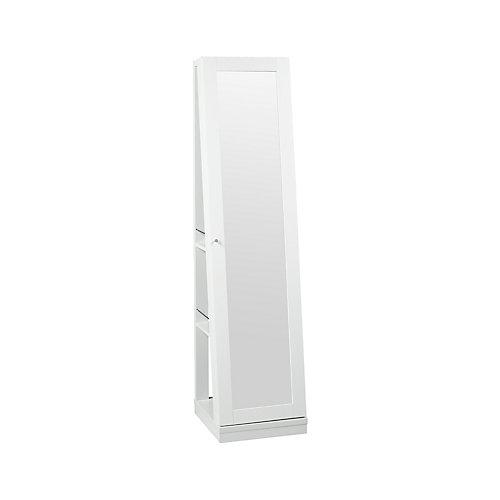 Armoire à bijoux avec miroir et roulettes de Brassex, blanc
