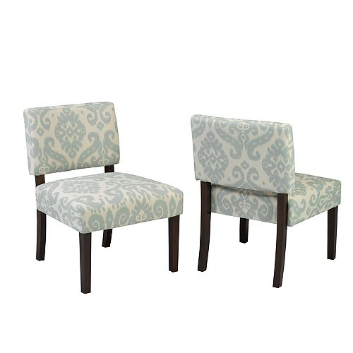 Accent Chair, Blue/Cream
