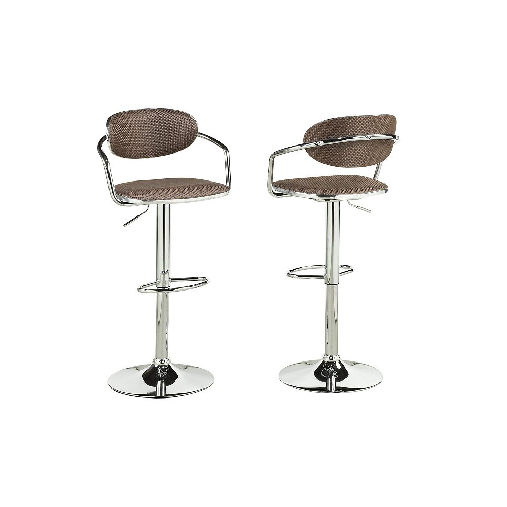 Brassex Inc. Adj.Bar Stool (Set of 2), Brown