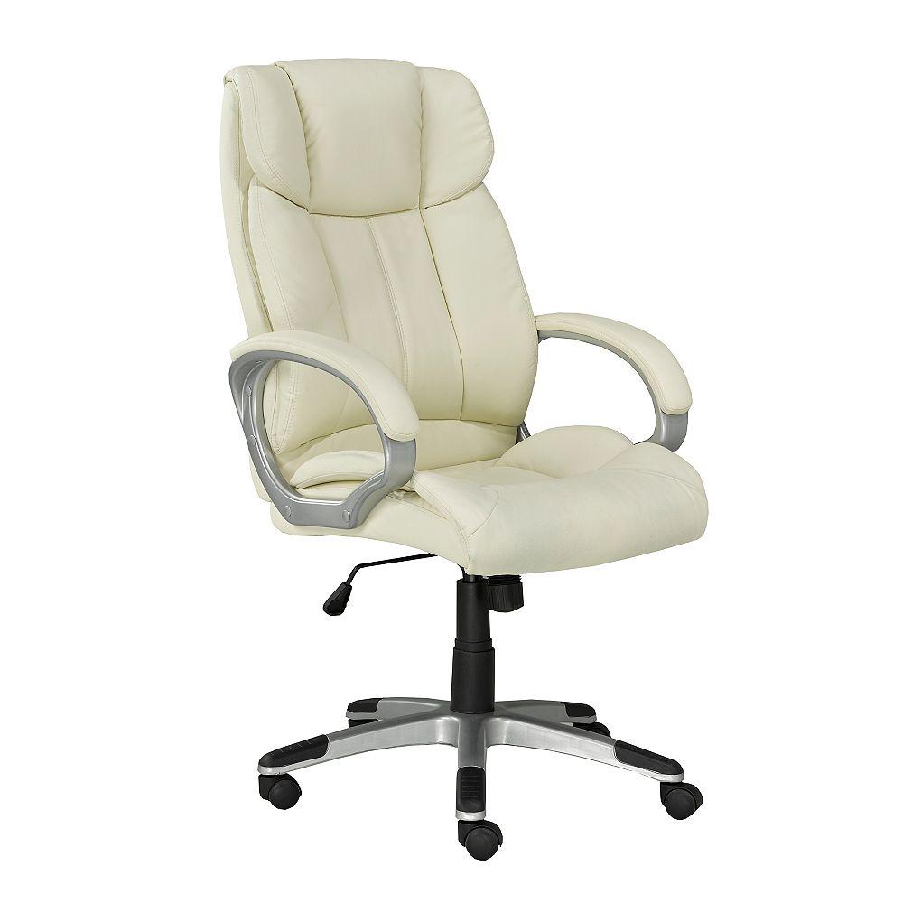 Brassex Inc. Office Chair with Gas Lift and Tilt Mechanism, Beige