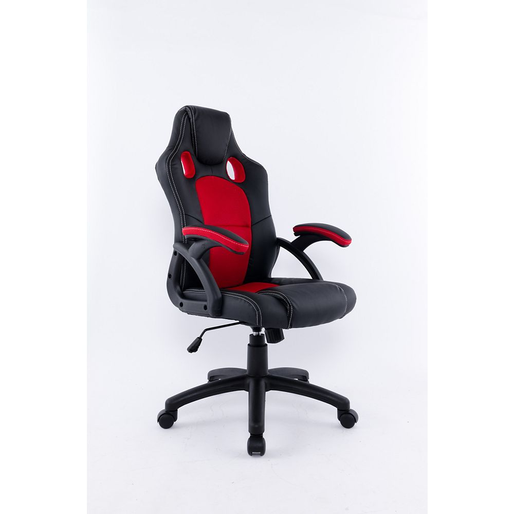 Brassex Inc. Office Chair with Gas Lift and Tilt Mechanism, Black & Red