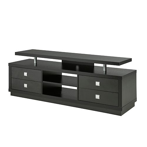 "66"" TV Stand with Storage, Black"