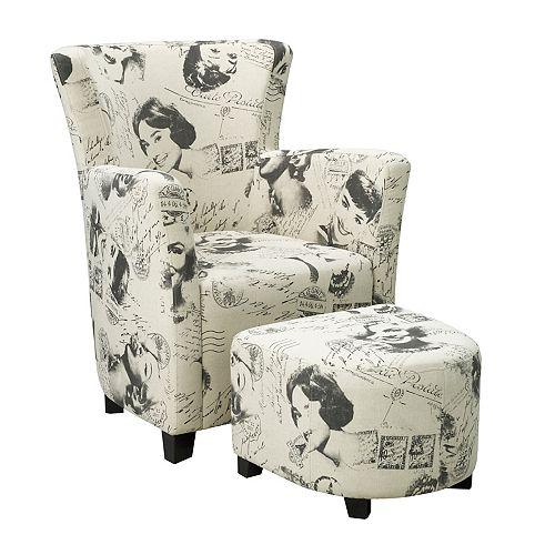 Club Chair with Ottoman, Marilyn Monroe Fabric