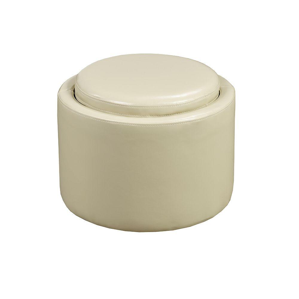 Brassex Inc. Ottomane de rangement Brassex avec plateau coulissant, crème