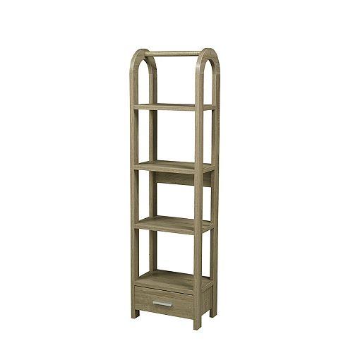 Brassex Inc. 4-Tier Display Shelf with Storage Drawer, Dark Taupe