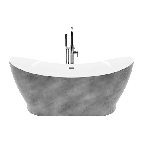 Polar silver 66 inch Acrylic Freestanding Flat-Bottom Bathtub without faucet