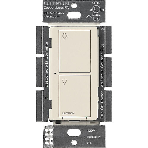 Caseta Wireless Smart Lighting Switch for All Bulb Types and Fans, Light Almond