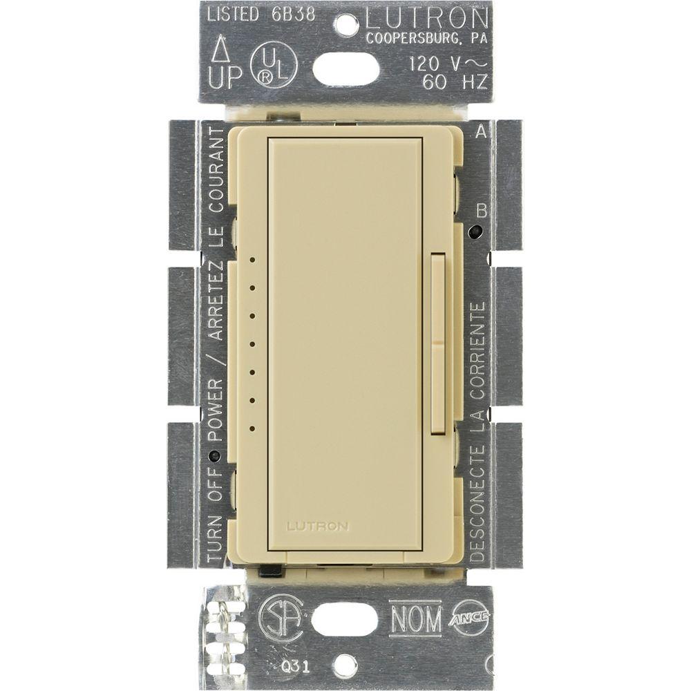Lutron Maestro 150 Watts Unipolaire 3-Voies ou Gradateur Numérique Empl. Multiple AFC DEL, Ivoire