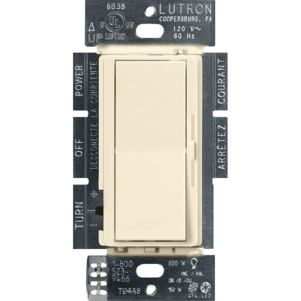 Lutron Diva LED+ Dimmer Switch for Dimmable LED/Halogen/Incandescent Bulbs, Single-Pole or 3-Way, Almond
