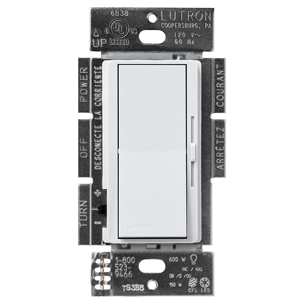 Lutron Gradateur Diva LED+ pour ampoules à DEL/halo/incand, unipolaire/3 voies, palladium