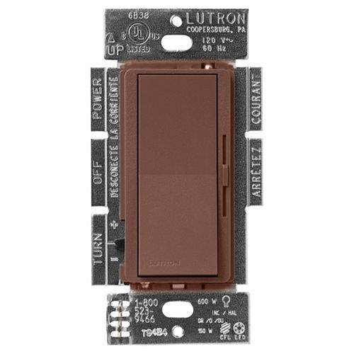 Lutron Diva LED+ Dimmer Switch for Dimmable LED/Halogen/Incandescent Bulbs, Single-Pole or 3-Way, Sienna