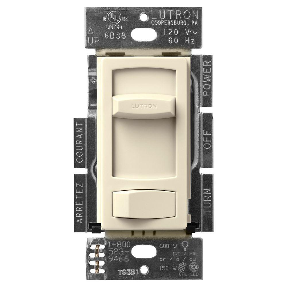 Lutron Gradateur Skylark Contour LED+ pour ampoules à DEL/halo/incand, unipolaire/3 voies, amande