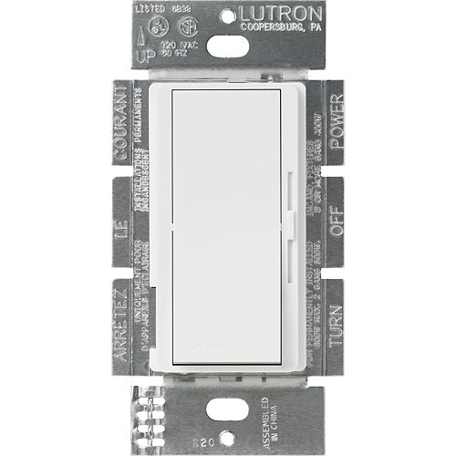 Lutron Gradateur unipolaire Diva, applications 3-voies, 8 Amp., 0 à 10 Volts, Blanc