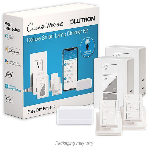 Caseta Wireless Smart Lighting Lamp Dimmer (2-Pack) Starter Kit with pedestals for Pico remotes