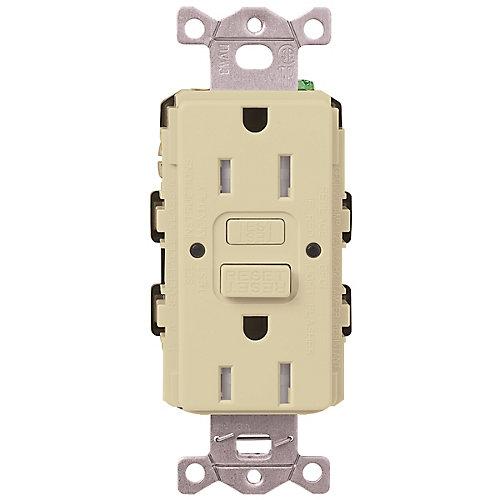 Claro 15-Amp Tamper-Resistant GFCI Duplex Receptacle, Ivory