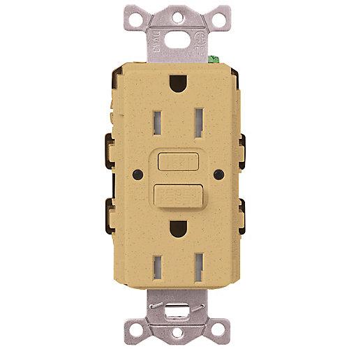 Claro 15-Amp Tamper-Resistant GFCI Duplex Receptacle, Goldstone