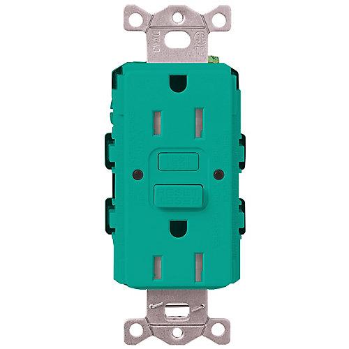 Claro 15-Amp Tamper-Resistant GFCI Duplex Receptacle, Turquoise