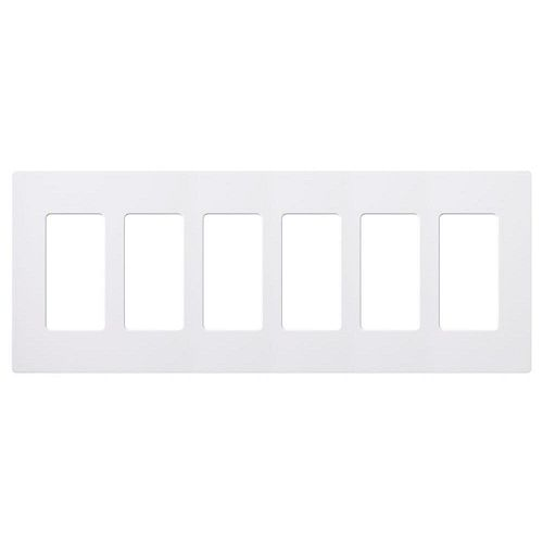 Lutron Claro 6 Gang Wall Plate, White