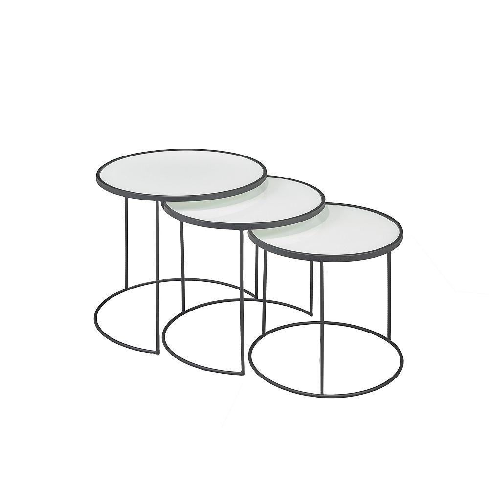 Brassex Inc. 3-Piece Nesting Table Set, White