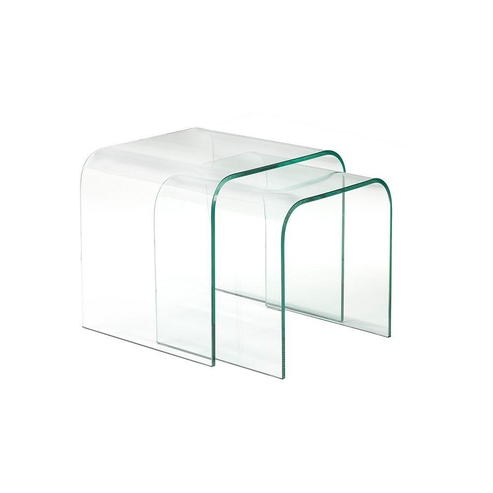 Brassex Inc. Ensemble 2 pièces de tables gigognes Brassex,  verre clair bombé