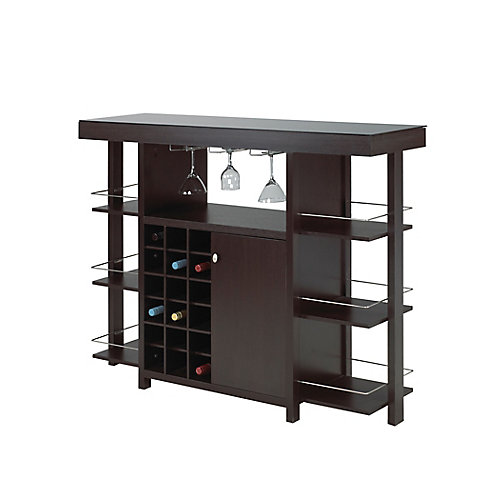 Bar with Smoked Glass Top, Expresso