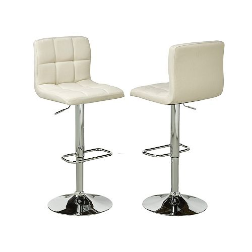 Brassex Inc. Adj.Bar Stool (Set of 2), Beige