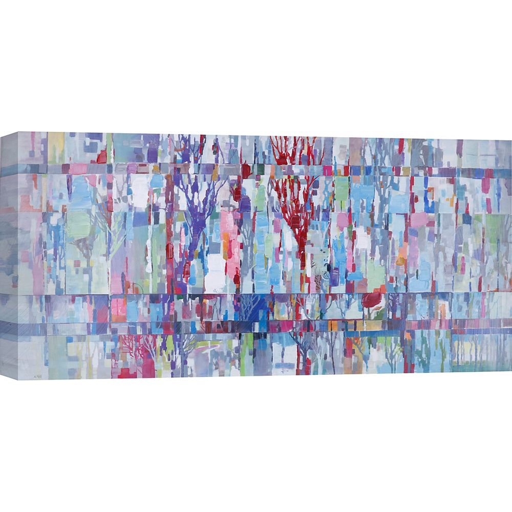 """Art Maison Canada 30"""" H x 60"""" W Ready to Hang, Abstract Hand Painted Canvas 'Colorful Trees' by Anastasia C."""