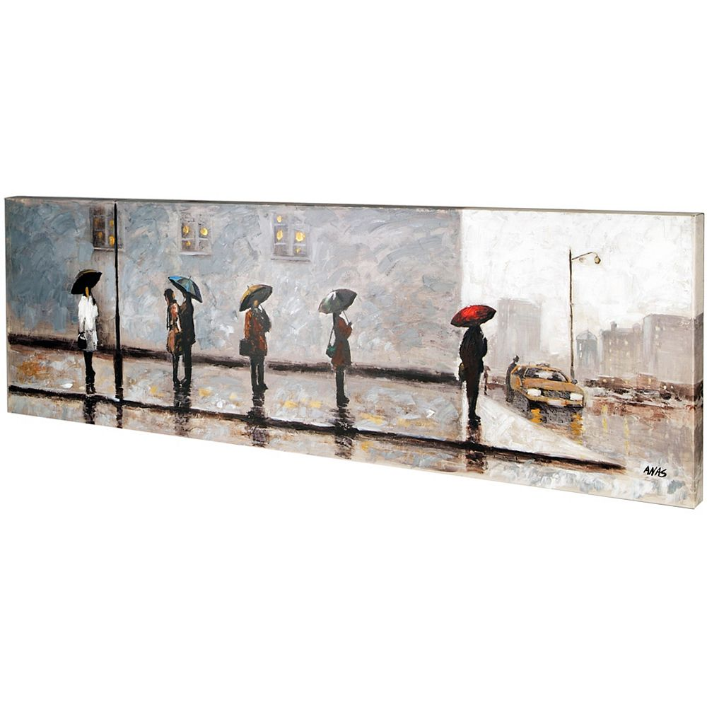 Art Maison Canada Wait for a Cab II by Anastasia C. Original Painting on Wrapped Canvas