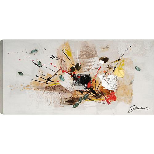 Abstrait avec des feuilles de Jamie Original peinture sur toile enveloppé