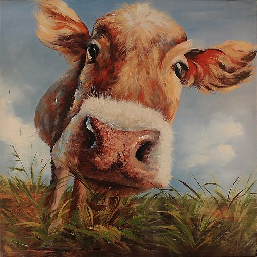 Cow In Field by Tina O. Painting Print on Wrapped Canvas
