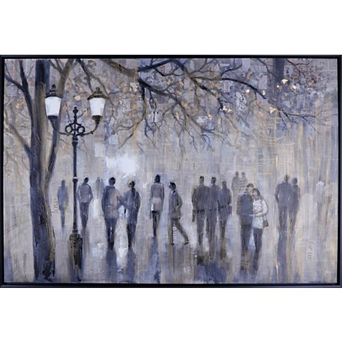 "38.5"" H x 56.5"" W Ready to Hang, Framed Hand Painted Canvas ' Street Walk' by Anastasia C."