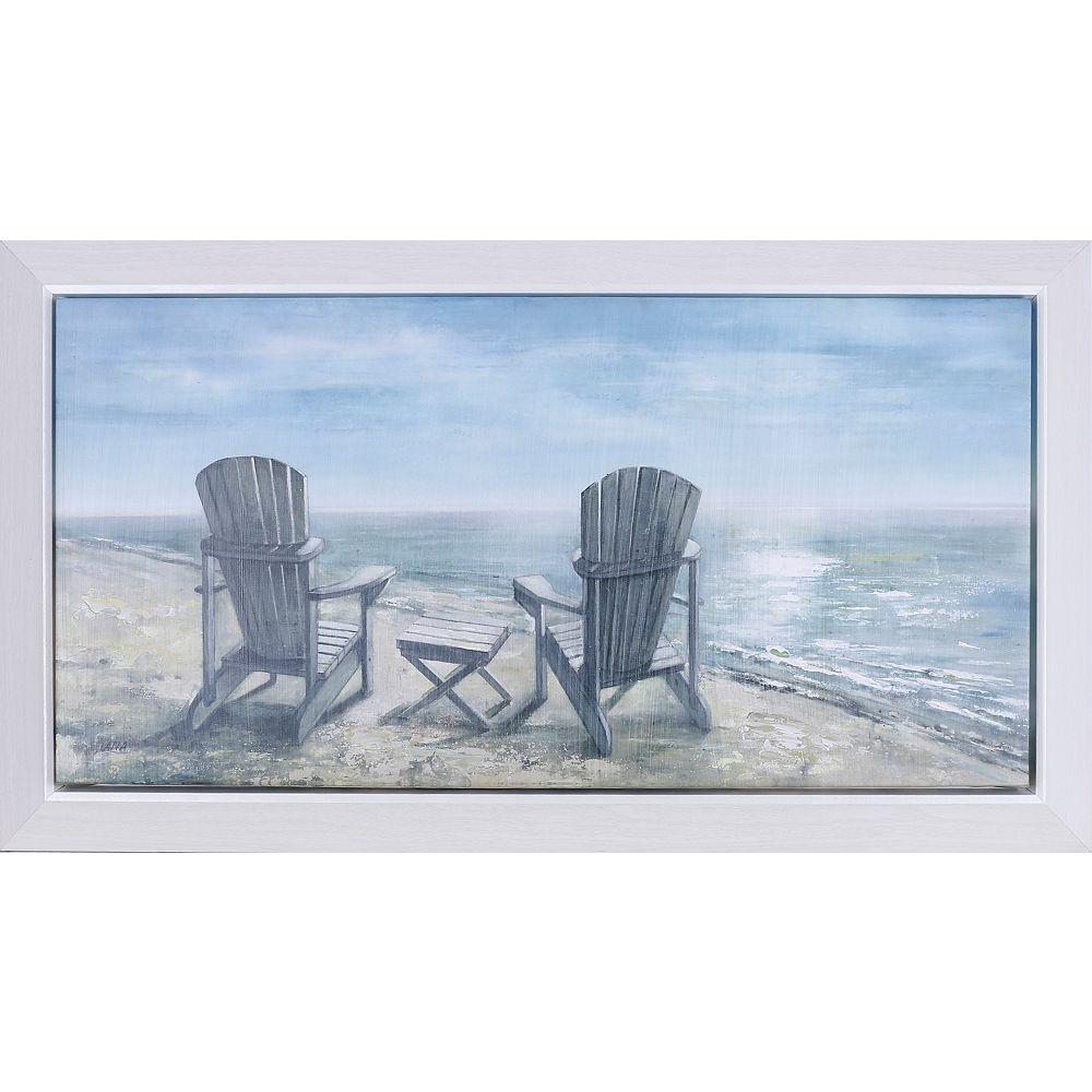 """Art Maison Canada 23,25"""" H x 38,25"""" W prêt à accrocher, encadré main peint toile «Mer côté reste» par C. Anastasia"""