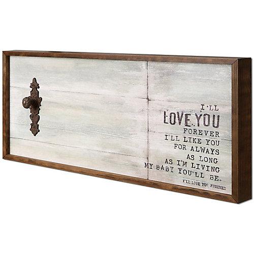 """19"""" H x 38"""" W prêt à accrocher «Love You» par Christina Lovisa fresque encadrée ouvrée Art"""
