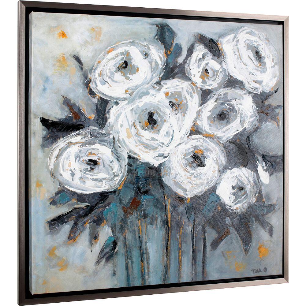 Art Maison Canada Urbain Floral par Tina. O encadré peinture impression sur toile enveloppé