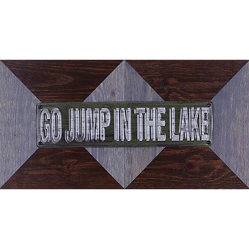 """11.25"""" H x 22,25"""" W prêt à accrocher «aller sauter dans le lac» par Sam o. mixte métal Art Décor"""
