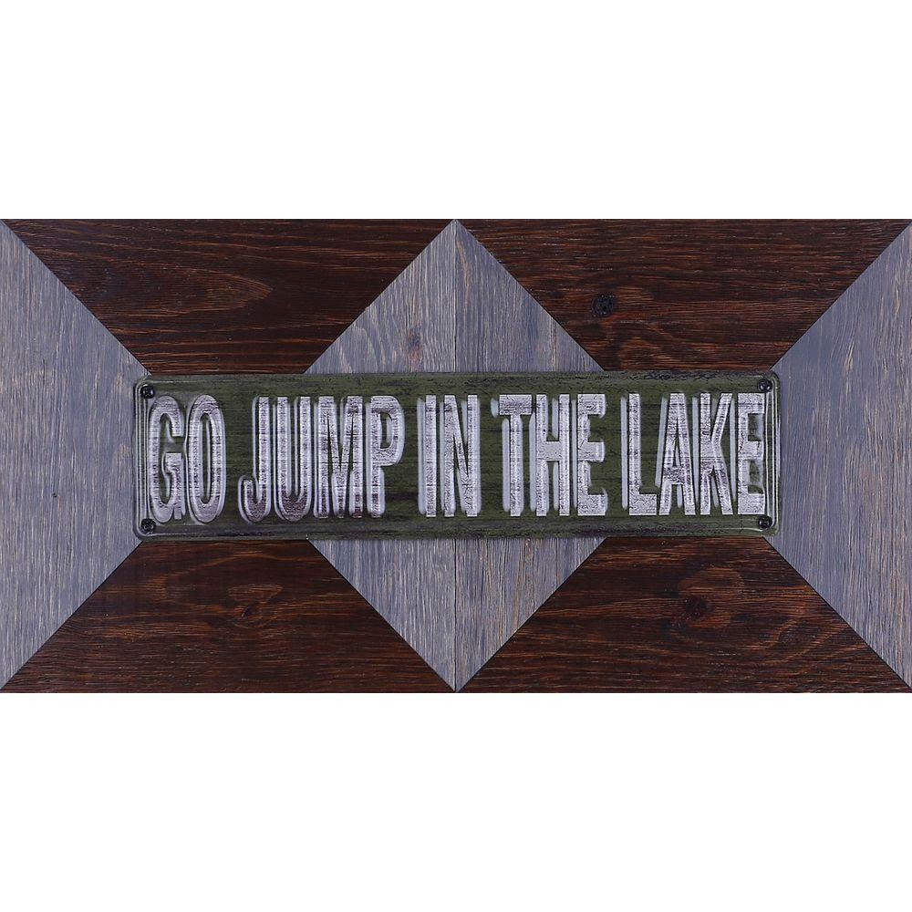 "Art Maison Canada 11.25"""" H x 22.25"""" W Ready to Hang 'Go Jump In Lake' by Sam O. Mixed Metal Art DÃcor"