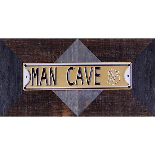 """11.25"""" H x 22,25"""" W prêt à accrocher «Man Cave» par Sam O. Words et Messages mixtes métal Art"""