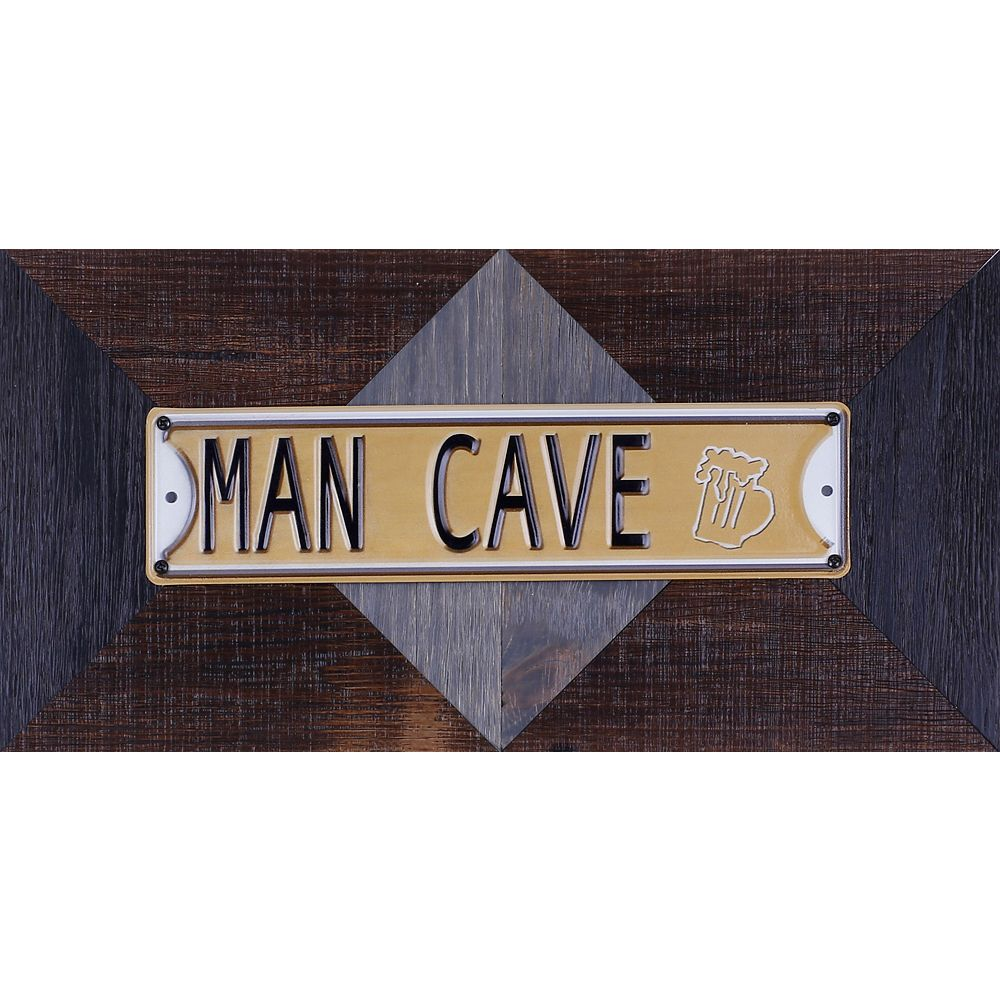 "Art Maison Canada 11.25"""" H x 22.25"""" W Ready to Hang 'Man Cave' by Sam O. Words and Messages Mixed Metal Art DÃcor"
