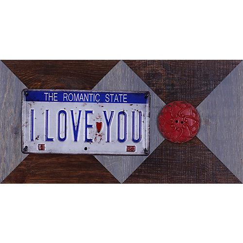 """11.25"""" H x 22,25"""" W prêt à accrocher «I Love You» de Sam O. Words et Messages mixtes métal Art"""